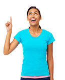 Excited Woman With An Idea Pointing Upwards Royalty Free Stock Photo
