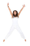 Excited woman jumping Royalty Free Stock Photography