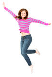 Excited woman jumping Stock Photos