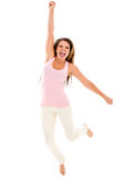Excited woman jumping Royalty Free Stock Images