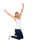 Excited woman jumping Stock Photography
