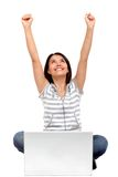 Excited woman with laptop Royalty Free Stock Photos
