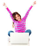 Excited woman with a laptop Royalty Free Stock Photo