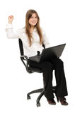 Excited woman with laptop  enjoying success. On white background Royalty Free Stock Image