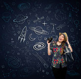Excited woman looking at draw space Royalty Free Stock Image