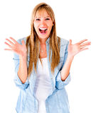Excited woman looking surprised Royalty Free Stock Image
