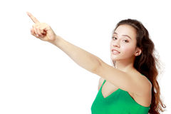Excited woman point Stock Photography