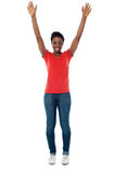 Excited woman raising her arms up Royalty Free Stock Images