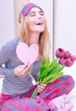 Excited woman with romantic letter Royalty Free Stock Images