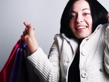 Excited woman at shopping Royalty Free Stock Photo