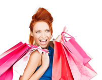 Excited woman with shopping bags Royalty Free Stock Photos