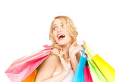 Excited woman with shopping bags Royalty Free Stock Photography