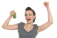 Excited woman showing home keys Royalty Free Stock Photos