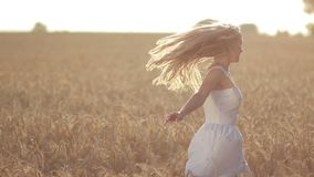 Excited woman spinning in wheat field at sunset stock footage