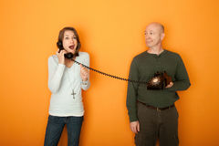 Excited Woman On Telephone Stock Images