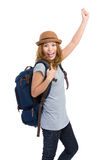 Excited woman traveler Stock Photo
