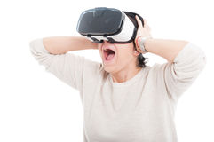 Excited woman using 3d goggles Royalty Free Stock Photography