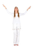 Excited woman in white Royalty Free Stock Photography