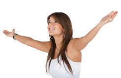 Excited woman in white Royalty Free Stock Image