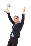 Excited woman winning a trophy Royalty Free Stock Photo