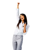 Excited Woman With Air Punch Stock Photo