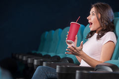 Excited women at the cinema. Royalty Free Stock Photos
