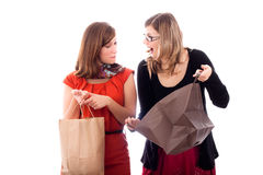Excited women shopping Stock Images