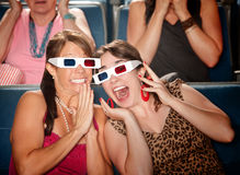 Excited Women Watch 3d Movie Royalty Free Stock Image