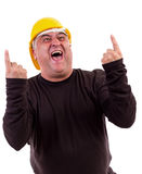 Excited worker  screaming of joy. Excited worker with arms raised in success and screaming of joy Stock Photo