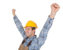 Excited worker wearing hard hat Stock Image