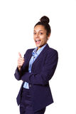 Excited young african businesswoman showing thumbs up Royalty Free Stock Image