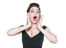 Excited young beautiful girl in retro pin up style Stock Image