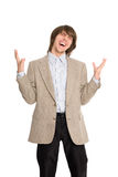 Excited young business man Stock Image