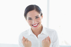 Excited young business woman clenched fists. Close up portrait of an excited young business woman clenched fists at office Stock Photos