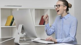 Excited Young Casual Girl Celebrating Success of Project stock video
