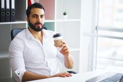 Excited young caucasian businessman celebrate victory cheerful i. N modern office Stock Photo