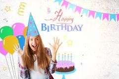 Excited young female on birthday background. Excited young female celebrating success on creative colorful birthday sketch background. Celebration concept Stock Image