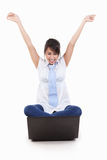 Excited young female with laptop Royalty Free Stock Images