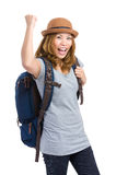 Excited young female tourist  raise hand up Royalty Free Stock Photo