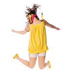 Excited young girl jumping on white Royalty Free Stock Photo