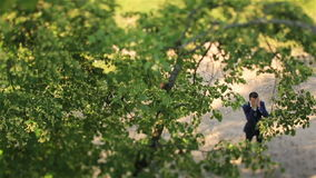 Excited young groom standing near the green tree in the forest and hiding face in hands. Top view stock video