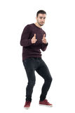 Excited young happy casual bend man choosing you pointing finger at camera Stock Images