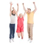 Excited young happy family jumping Stock Photos
