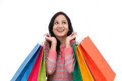 Excited young happy woman with shopping bags Stock Photography