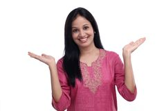 Excited young Indian girl against white Royalty Free Stock Photos