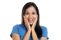 Excited young Indian woman Stock Photography