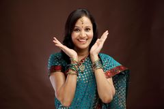 Excited young Indian woman Stock Image