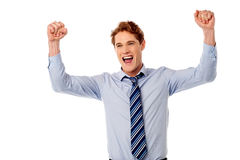 Excited young male executive Royalty Free Stock Photos