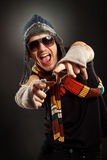 Excited young man pointing Royalty Free Stock Image