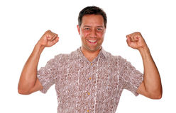 Excited young man winning Stock Photography